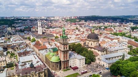 March, 2019 - Lviv, Ukraine: Aerial view of the historical center of Lviv, Ukraine. UNESCOs cultural heritage. Редакционное