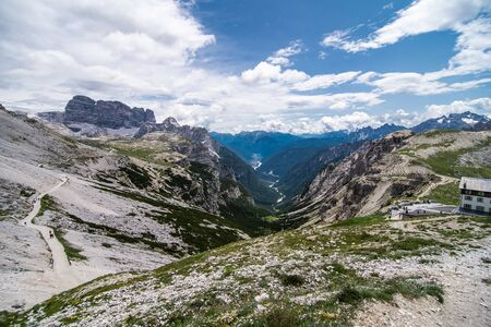 Dolomites, Italy - July, 2019: Amazing view from Tre Cime over the Dolomite's mountain