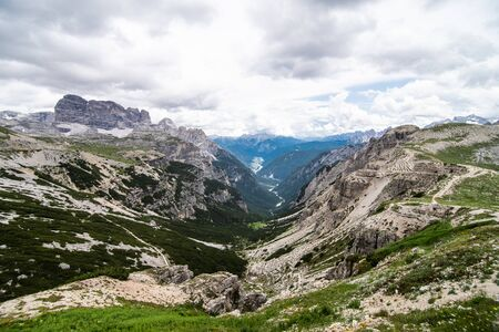 Amazing view from Tre Cime over the Dolomite's mountain