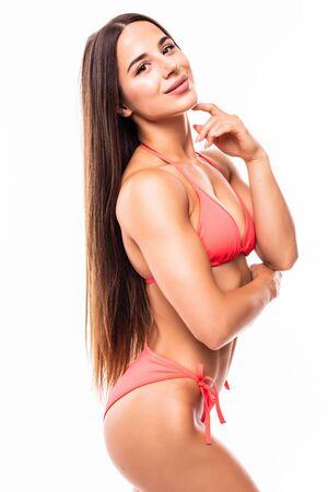 sexy beautiful brunette woman in swimsuit on white background Standard-Bild - 134467446