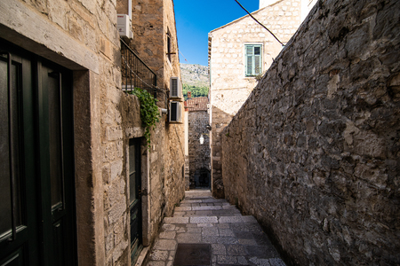 Dubrovnik, Croatia - July, 2019: The Strada is the main shopping street and gathering area in the city of Dubrovnik in Croatia.