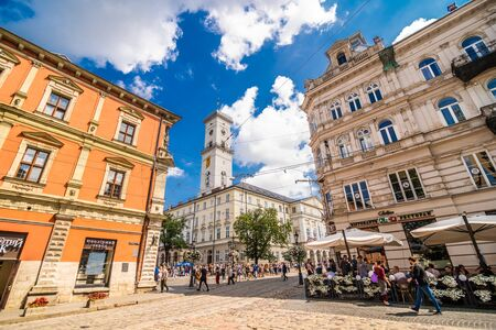 Lviv, Ukraine - June, 2019: Cityscape view on the old town with beautiful buildings during the sunny weather in Lviv in Ukraine