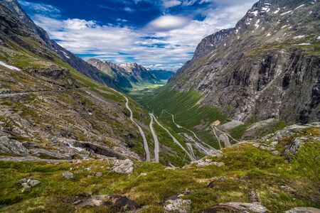 TROLLSTIGEN, NORWAY - June, 2019: Trollstigen viewing or viewpoint platform. Trollstigen or Trolls Path is a serpentine mountain road in Norway Stock fotó
