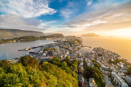 Sunset over Alesund Town from Aksla viewpoint, Norway