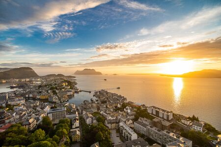 Sunset over Alesund city from Aksla viewpoint