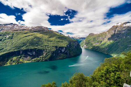 Geiranger fjord, Norway - June,2019: Geiranger fjord, Beautiful Nature Norway. It is a 15-kilometre long branch off of the Sunnylvsfjorden, which is a branch off of the Storfjorden