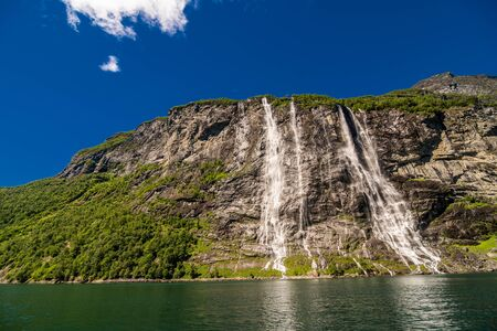 The seven sisters waterfall over Geirangerfjord, located near the Geiranger village