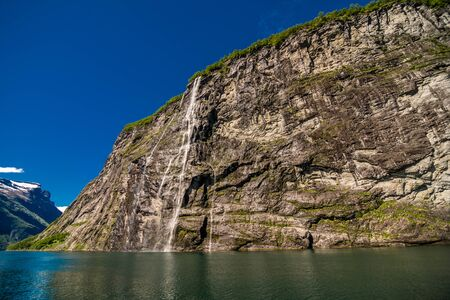The bride waterfall over Geirangerfjord, located near the Geiranger , Norway