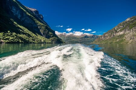 views inside the Geiranger fjord taken by the ferry hellesylt geiranger