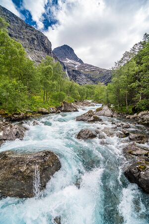 Beautiful mountain river near Trollstigen in Norway