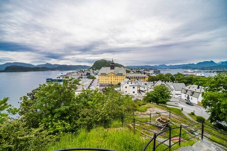 ALESUND, NORWAY - June, 2019: Alesund city centre. Alesund is a town and municipality in More og Romsdal county