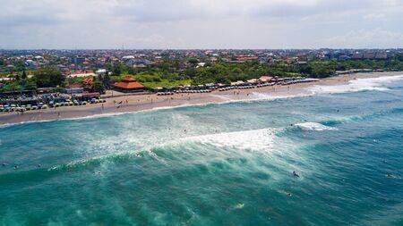 Aerial panorama of the beach of Canggu beach , Bali, Indonesia
