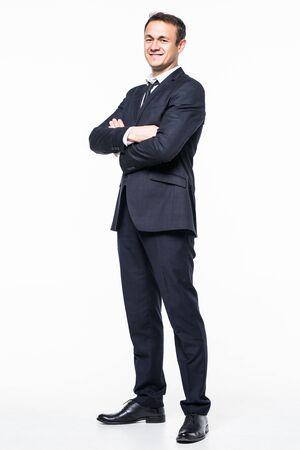 Full length of happy executive male on white background Reklamní fotografie