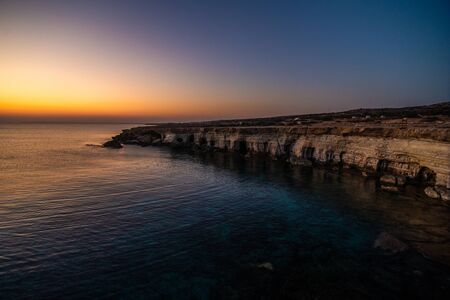 Famous Sea Caves in Ayia Napa Cyprus - aerial view - nature background
