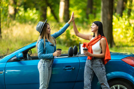 Beautiful young women giving high five, having fun together, cheering with raised arms driving modern convertible car on vacation on summer day Standard-Bild