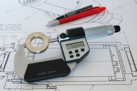 workpiece: Micrometer and the workpiece on a technical drawing