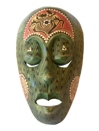 colorful African wooden mask as cut out photo