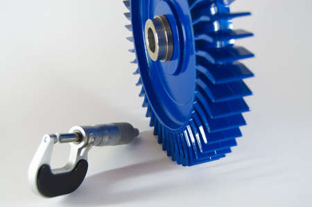 qs: micrometer with workpiece Stock Photo