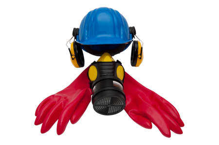 personal protective equipment: Cut out of personal protective equipment. Stock Photo