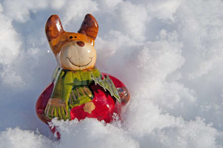 Figure of a Christmas Moose in the snow Stock Photo