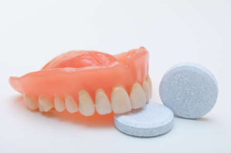 dental prophylaxis: Close-up of denture with cleaning tablet