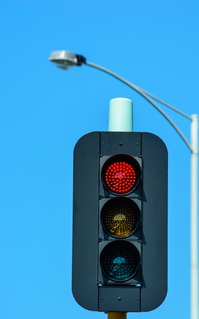 controling: This traffic light indicates a good symbol of controling the street