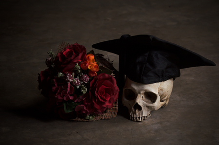 death cap: dead skull with graduation hat idea for graduation graphic and others Stock Photo