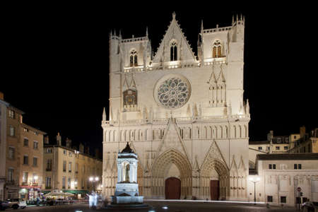 the cathedral of saint john in the old town center of lyon illuminated