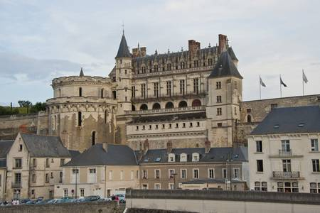 The royal castle of Amboise seen from the bridge over the Loire