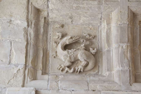 low relief of a salamander, the symbol of Francois I, in the chateau of Chambord