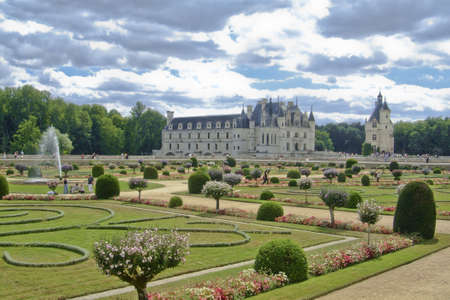 et: the gardens in front of the chateau of chenonceau, in the Loire Valley