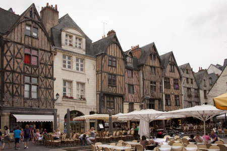the medieval square  place plumereau in the vieux tours Editorial