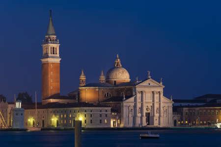 the church of san giorgio maggiore in the venetian lagoon, seen from riva degli schiavoni Stock Photo