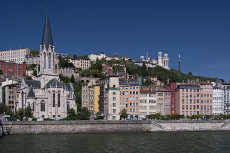 the quartier of vieux lyon seen from the other side of the saone
