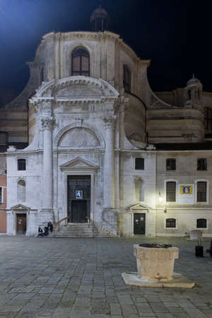 Night view of the Church of San Geremia and Santa Lucia, in Cannaregio, on the main island of Venice