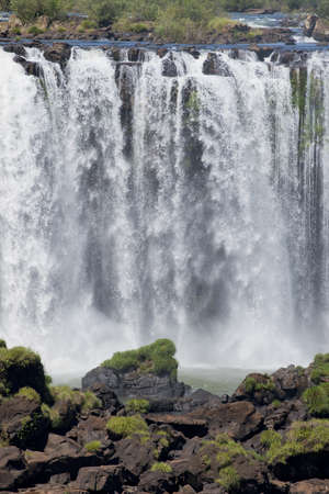 part of the iguazu falls, seen from the brazilian side, one of the worlds seven natural wonders