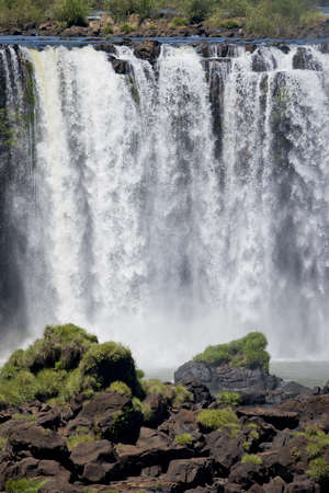 natural wonders: part of the iguazu falls, seen from the brazilian side, one of the worlds seven natural wonders
