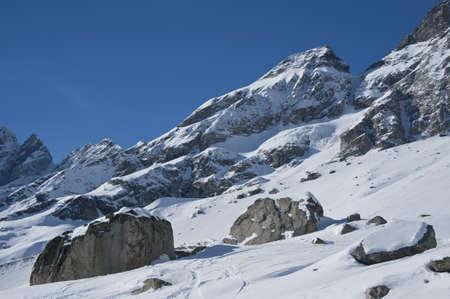 view  over the rocks under the Matterhorn