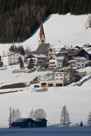 sudtirol: the village of kematen under the snow, in pfitsch, sudtirol