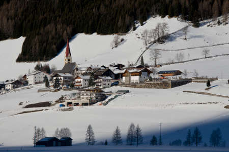 sudtirol: the village of kematen under the snow, in pfitsch, sudtirol