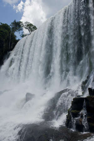 the spectacular Salto Bossetti at the Iguazu Falls, one of the seven natural wonders of the world, between Argentina and Brazil Stock Photo