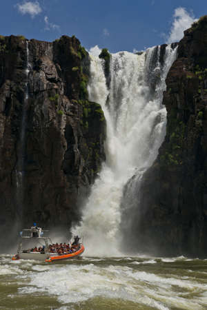 natural wonders: the magnificent garganta del diablo at the iguazu falls, one of the seven natural wonders of the world, between Argentina and Brazil