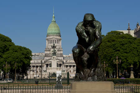 national congress: a statue in front of the palace of the national congress of argentina in buenos aires