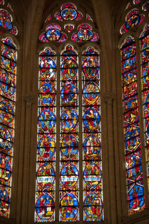 touraine: the polychrome stained-glass window in the gothic cathedral of tours  saint gatien