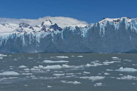 View of one of the fronts of the glacier Perito Moreno in the Los Glaciares National Park of  Patagonia, facing on the Lake Argentino Фото со стока