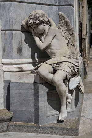 Statue of a sleeping angel in the Recoleta Cemetery , most important monumental graveyard in Argentina
