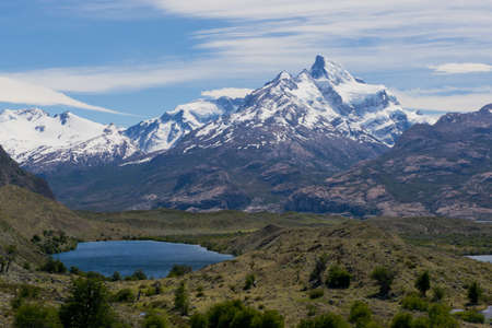 Panoramic view of lakes and mountains on the way from estancia cristina to the upsala glacier, in patagonia argentina