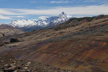 upsala: Panoramic view of the moraine and the mountains on the way from estancia cristina to the upsala glacier, in patagonia argentina