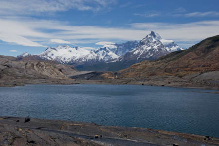 Panoramic view of lakes and mountains on the way from estancia cristina to the upsala glacier, in patagonia argentina photo