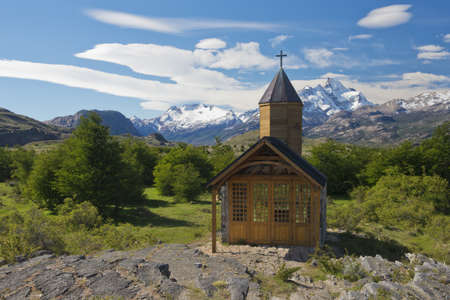 upsala: Church of the estancia cristina on the Lake Argentino, near the upsala glacier, in los glaciares national park of patagonia argentina  Stock Photo